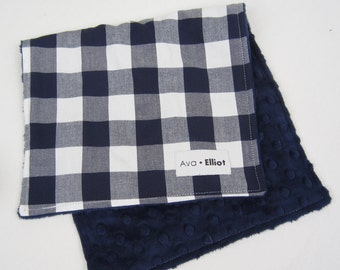 SHIPS TOMORROW - Buffalo Check in Navy and White - Baby Burb Cloth
