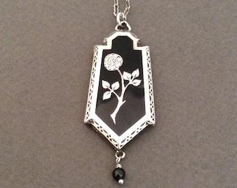 Vintage Sterling Silver Black Enamel Flower Locket Necklace