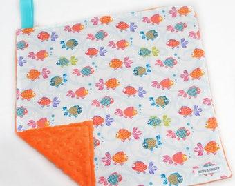 "Baby Lovey Blanket - Orange and White Goldfish Lovey 15""x15"" - Ready to Ship"