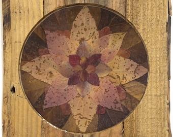 Rustic Pink Leaf Mandala in Reclaimed Wood