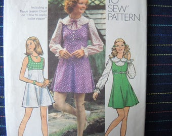 vintage 1970s simplicity sewing pattern 5424 misses mini dress or mini jumper and blouse size 12