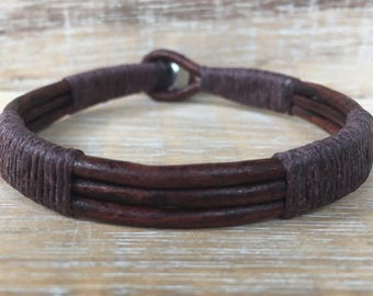 Mens Leather Bracelet, Leather cuff, Brown Leather Bracelet, Unisex Bracelet, Stainless Steel Bracelet, Made in USA, Dad Gift, Husband Gift