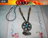 vintage turquoise bead faux coin pendant necklace, hippie, boho