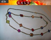 Vintage Multicolor beaded necklace, fashion necklace, colorful bead necklace