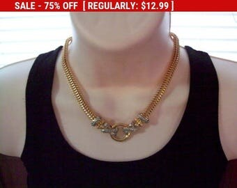 SALE Goldtone silvertone necklace, statement necklace, estate jewelry, mothers day