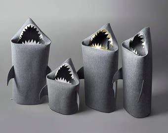 SHARK, Felt laundry basket for bathroom or children's room as a basket for toys, Shark felt kids toy storage basket, Gift ideas,