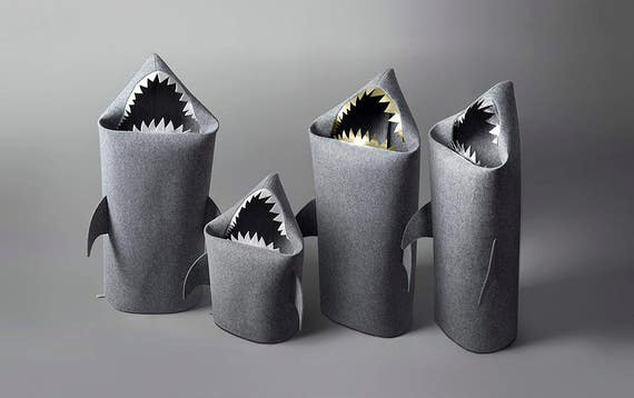 SHARK Felt Laundry Basket For Bathroom Or Childrens Room