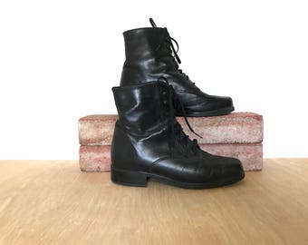 Vintage 90s Lace up Boots Size 8 Black Leather Boots 90's 80's Ankle Boots Lace Up Ankle Boots Santana Canada