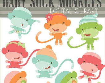Sock monkey clip art | Etsy