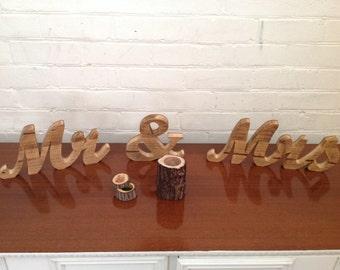 """Rustic wood """"Mr & Mrs"""" sign"""