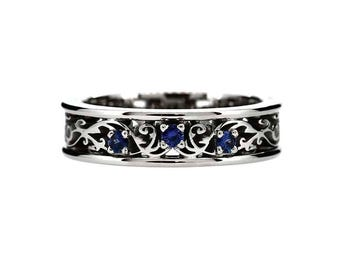 Blue sapphire ring, white gold, wedding band, filigree engagement, sapphire ring, blue wedding, unique, sapphire ring, blue wedding band