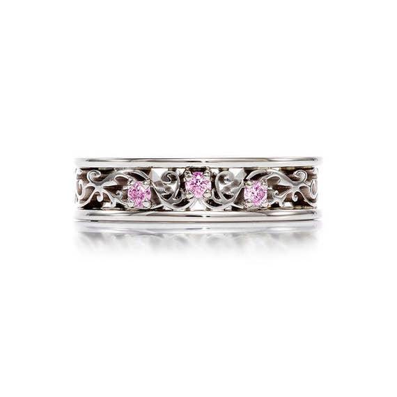 Pink Sapphire Filigree Ring White Gold Wedding Band