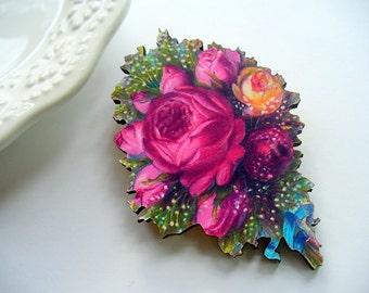 Pink Rose Lapel Pin, Sweater Pin, Brooch, Shabby Chic, Weddings, Pin, Wood Jewelry, Scarf Pin, Wood Laser Cut, Decoupaged, Blue Ribbon