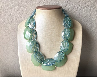 Mojito & Teal Necklace, multi strand jewelry, big beaded chunky statement necklace, blue necklace, bridesmaid necklace, bib necklace, green