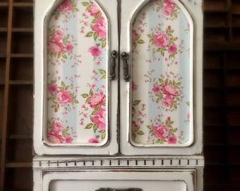 Vintage Jewelry Box, Upcycled Jewelry Box, Shabby Chic Jewelry Box, Cottage Style Jewelry Box, Vintage Jewelry  Armoire