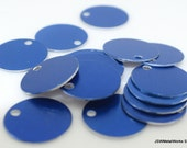 50 0.69 Inch Blue Anodized Aluminum Tags, Medium Blank Discs