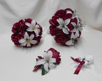 Wedding Silk Flower Bridal Bouquets 18 pcs Package Burgundy White Lily Lilies Toss Bridesmaids  Boutonnieres Corsages FREE SHIPPING