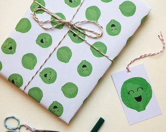 Brussels Sprout Gift Wrap - Christmas Wrapping - 2 SHEETS with Tags