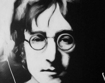 John Lennon, Black & White, Art, Portrait, Original Painting, Music, Rock and Roll, The Beatles, Fab Four, British Invasion