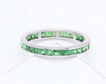 Tsavorite Green Garnet Eternity Band Ring in 18K Yellow, White or Pink/ Rose Gold (3ct tw) : sku 901-18K