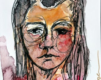 Bruised pink- 5x7in Original Watercolor & Ink Portrait, Art board