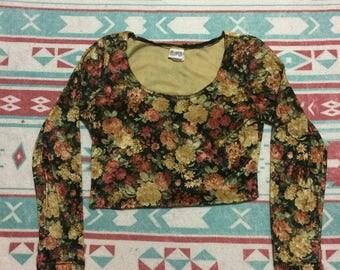 Vintage Velvet Floral Print Crop Top Long Sleeve Shirt