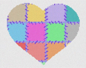 Needlepoint Kit or Canvas: Heart Love To Stitch