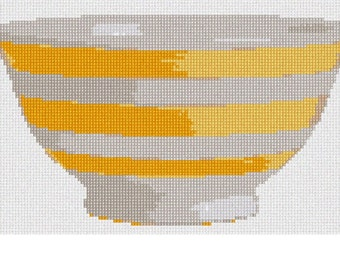 Needlepoint Kit or Canvas: Striped Yellow Bowl