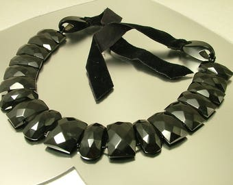 Huge Antique/ estate 1800s Victorian Whitby Jet/ black mourning collar panel necklace - jewellery, jewelry