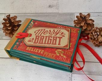 Christmas Photo Journal Mini Album - PreMade Interactive Christmas Scrapbook Memory Album - Be Merry Christmas Scrapbook - December Daily