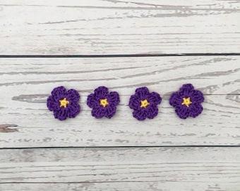 crochet flowers | crochet applique | flower motif | purple flower embellishment | mini crochet flowers