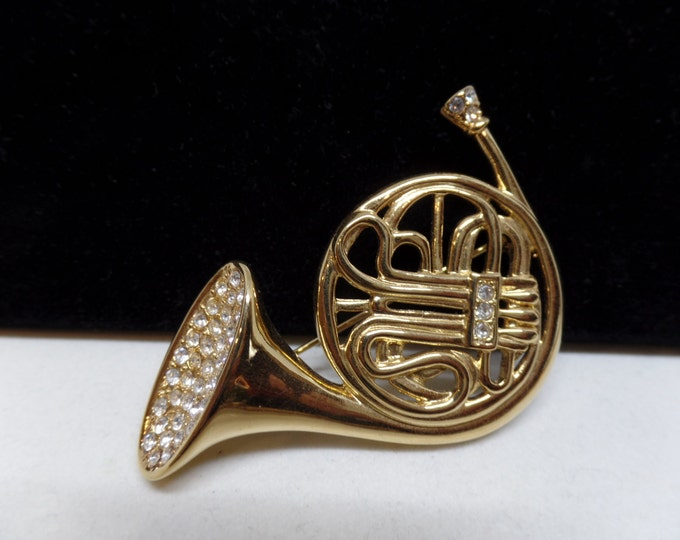 KJL Signed Vintage Crystal French Horn Brooch!