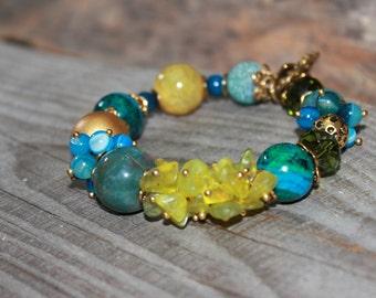 Bohemian bracelet , Beaded gemstone bracelet , Jasper , Mixed bead bracelet ,  Rustic Chic , Rustic bracelet , Woodland , agate , Jade