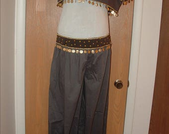 Belly Dance Outfit- Woman's Dance Outfit- Belly Dance Costume- Dance Costume- Woman's Dance Costume- Harem Pants- Grey & Black Costume