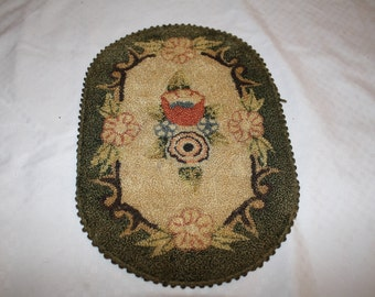 SALE Doll house hand made vintage hooked rug