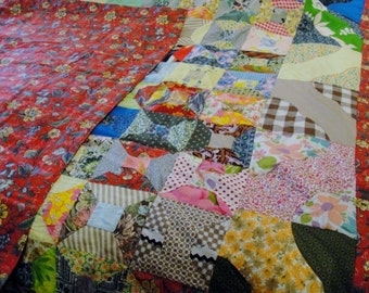Gorgeous Colorful Vintage Queen Full Size Bedspread Quilt in New Condition