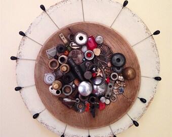 Found Object Industrial Zen Wall Sculpture/Tambourine Dream