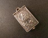 Antique Art Nouveau  French Souvenir St Teresa of Lisieux Book Locket  with 8 pictures Old Pendant Jewelry JV1