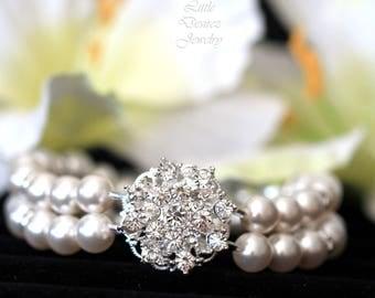 Rhinestone Pearl Bridal Bracelet, Bridal Bracelet, Pearl Bridal Bracelet, Victorian Bridal Jewelry, Pearl Wedding Bracelet, STARBURST