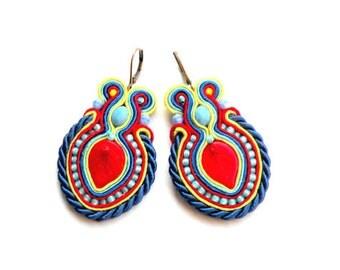 earrings-soutache-soutache earrings-Red Leaf-boho