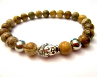 Jasper Mala. Mala Bracelet. Meditation Bracelet. Reiki Energy. Buddha Bead. Yoga Jewelry. Power Stones. Stackable Bracelets. Boho Jewelry.