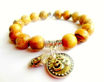 OM Jasper Bracelet. Buddhist Bracelet. Yoga Bracelet. Om Charm. Protection Bracelet. Jasper Stone. Balance Bracelet.