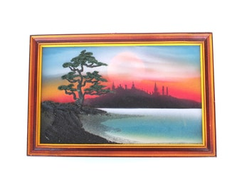 Soviet vintage wall hanging Sunset wall hanging Sunset wall art Nature wall hanging 3 D handmade wall picture