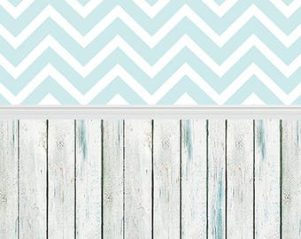 Pale Blue Chevron and White Washed Wood - Vinyl Photography  Backdrop Photo Prop