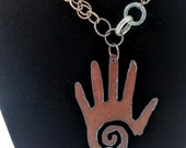 Healing Hand Vintage Chain Jade Quartz Grounding Metaphysical Necklace