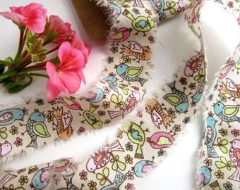 Frayed Edge Cotton Craft Ribbon - 2m - Shabby Style Gift Wrap Ribbon - Whimsical - Little Bird
