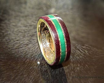 Silver Canada coin ring with purple heart wood and emerald inlay
