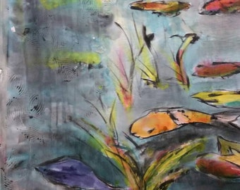 Large Hand Painted Asian Art on Silk,Koi Pond,one-of-a-kind silk abstract art,watercolor, blue,green,orange,teal, contemporary art