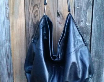 Black Leather Hobo / Crossbody Bag
