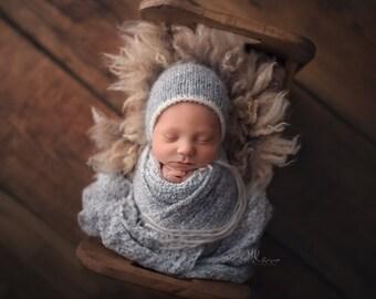 Newborn Knit Stretch Wrap, Newborn Photo Prop, Soft Newborn Wrap, Sweater Knit Wrap - Mint, Mauve, White